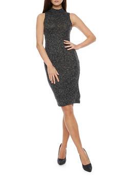 Mock Neck Sleeveless Ribbed Knit Dress - 1094069392648