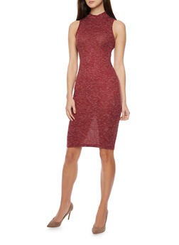 Mock Neck Sleeveless Ribbed Knit Dress - WINE - 1094069392648
