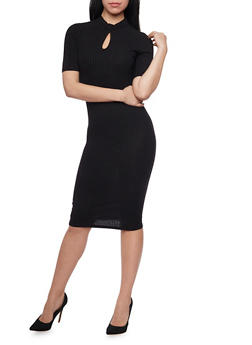 Rib Knit Mid Length T Shirt Dress with Keyhole Neck - BLACK - 1094069392650
