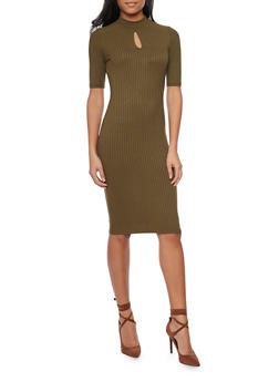 Rib Knit Mid Length T Shirt Dress with Keyhole Neck - 1094069392650