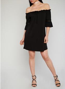 Off The Shoulder Crochet Sleeve Shift Dress - BLACK - 1094069392728