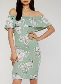 Floral Off the Shoulder Ruffle Overlay Dress - 1094069392746