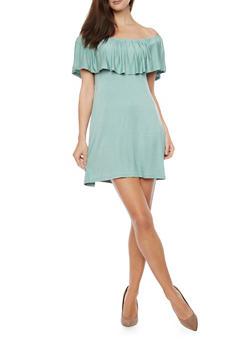 Ruffle Overlay Jersey Shift  Dress - 1094069392774