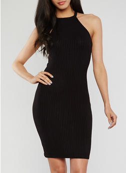 Sleeveless Halter Neck Rib Knit Bodycon Dress - BLACK - 1094069392805