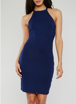 Sleeveless Halter Neck Rib Knit Bodycon Dress - 1094069392805