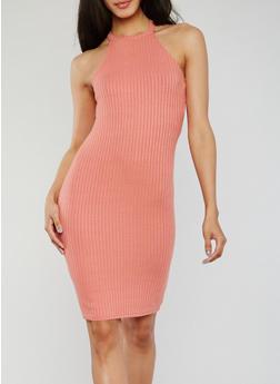 Sleeveless Halter Neck Rib Knit Bodycon Dress - 1094069392805