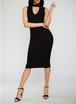 Sleeveless Ribbed Knit Keyhole Bodycon Dress - BLACK - 1094069392806