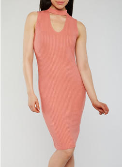 Sleeveless Ribbed Knit Keyhole Bodycon Dress - 1094069392806