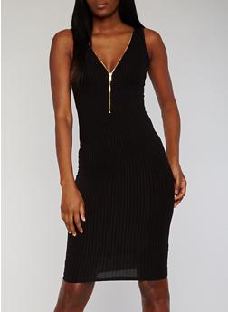 Rib Knit Zip Front Midi Dress - BLACK - 1094069392808