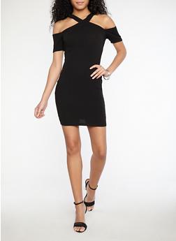 Textured Knit Criss Cross Front Dress - 1094069393372