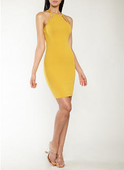 Textured Knit Keyhole Detail Bodycon Dress - 1094069393661