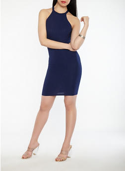 Ribbed Knit High Neck Dress - 1094069393668