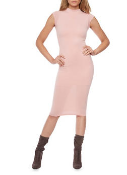 Sleeveless Mid Length Bodycon Dress with Back Cutout - BLUSH - 1094069394179