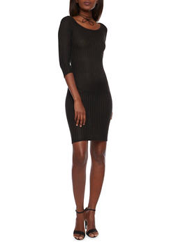 Ribbed Midi Bodycon Dress with Three Quarter Sleeves - BLACK - 1094073370501