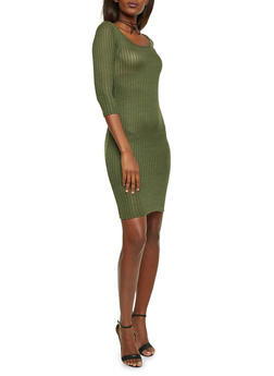 Short Ribbed Bodycon Dress - 1094073370501