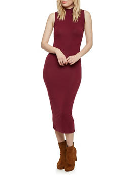 Sleeveless Bodycon Midi Dress with Mock Neck - BURGUNDY - 1094073370503