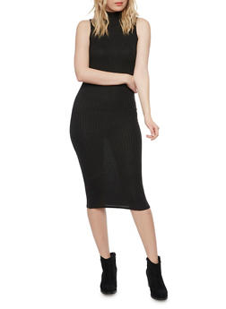 Ribbed Mockneck Midi Dress - BLACK - 1094073370504