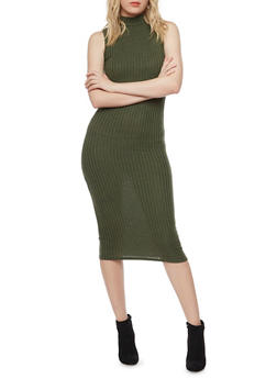 Ribbed Mockneck Midi Dress - 1094073370504