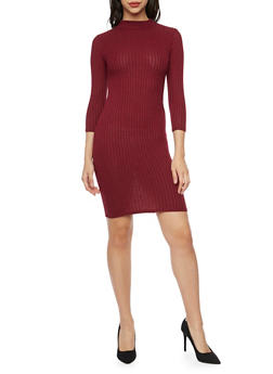 Rib Knit Midi Dress with Mock Neck - 1094073370505