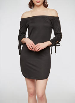 Soft Knit Off the Shoulder Tie Sleeve Dress - 1094073371017