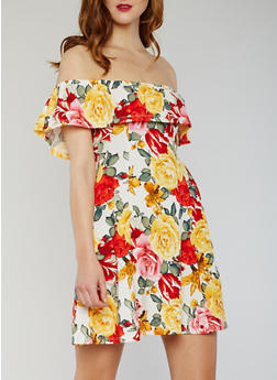 Off the Shoulder Floral Skater Dress - 1094073371027