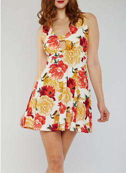 Floral Skater Dress with Caged V Neckline - 1094073371028