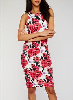 Sleeveless Floral Bodycon Dress - 1094073371029