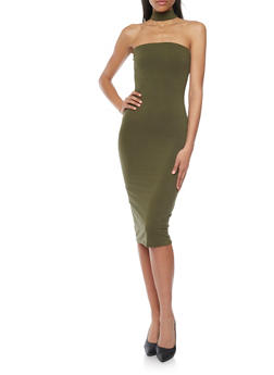 Strapless Mid Length Bodycon Dress with Choker - OLIVE - 1094073371102