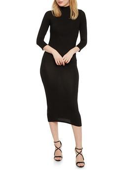 Mid Length Mock Neck Bodycon Dress - BLACK - 1094073371711