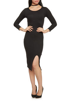 3/4 Sleeve Mid Length Bodycon Dress with Open Front Slit - BLACK - 1094073372703