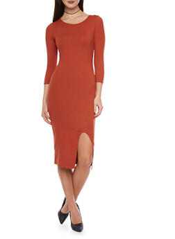 3/4 Sleeve Mid Length Bodycon Dress with Open Front Slit - 1094073372703
