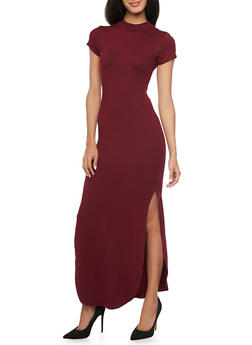 Mock Neck Maxi Dress with High Side Slits - BURGUNDY - 1094073375826