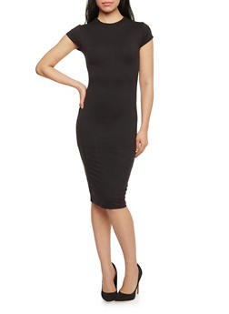 Funnel Neck Midi Dress with Cap Sleeves - BLACK - 1094073376911
