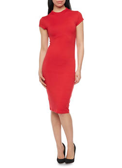 Funnel Neck Midi Dress with Cap Sleeves - 1094073376911