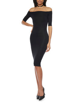 Off The Shoulder Bodycon Dress - BLACK - 1094073376919