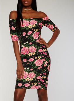Off the Shoulder Floral Bodycon Dress - 1094073376928