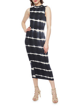 Tye Dye Mock Neck Sleeveless Maxi Dress - 1094073376930