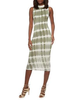 Tie Dye Mock Neck Sleeveless Maxi Dress - OLIVE - 1094073376930