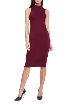 Sleevless Mock Neck Bodycon Dress - BURGUNDY - 1094073377710