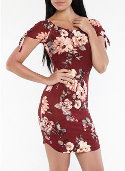 Floral Tie Sleeve Off the Shoulder Dress - 1094074011038