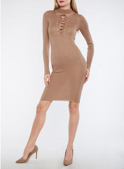 Ribbed Knit Lace Up Sweater Dress - 1094074013977
