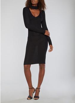 Mid Length Rib Knit Sweater Dress - BLACK - 1094074013978