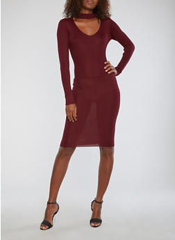 Mid Length Rib Knit Sweater Dress - 1094074013978