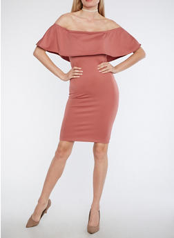 Solid Off the Shoulder Overlay Dress - 1094074014043