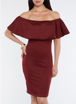 Solid Off the Shoulder Overlay Dress - 1094074014043
