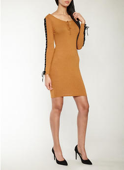 Soft Rib Knit Lace Up Sleeve Bodycon Dress - 1094074280013