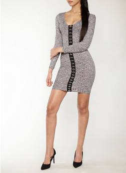 Rib Knit Hook Front Midi Dress - 1094074280017