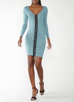 Rib Knit Hook Front Midi Dress - 1094074280017
