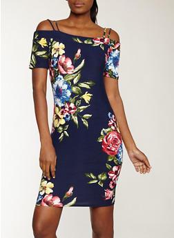 Soft Knit Floral Off the Shoulder Dress - 1094074280141