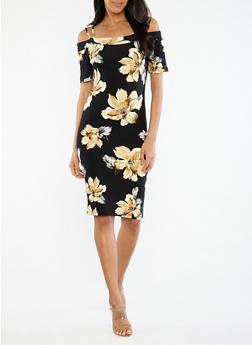 Black Floral Off the Shoulder Dress - 1094074280145